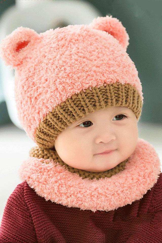 【韩国婴儿宝宝帽子秋冬季男女儿童可爱帽子围巾小孩