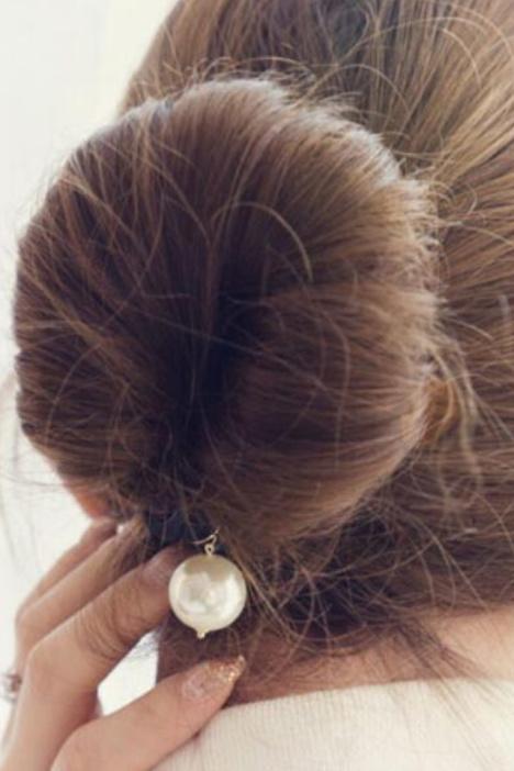 【全店满15元包邮】日韩升级百搭珍珠盘发器丸子头花苞头盘发绳图片