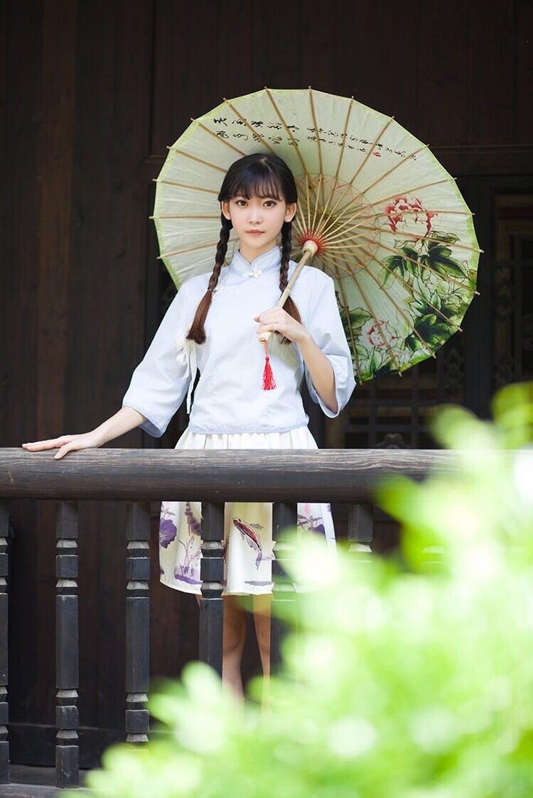 夏季可爱古风汉元素套装裙软妹风锦鲤主题印花复古民国风短裙日系