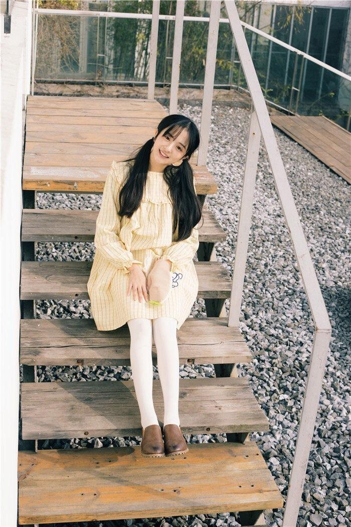 日系小清新格子甜美小女生可爱娃娃领连衣裙