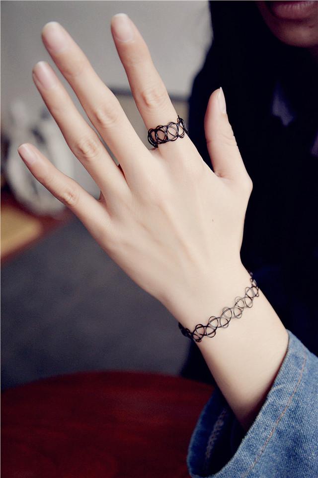 新款欧美复古韩版饰品镂空纹身编织鱼弹力混搭项链项圈手链戒指