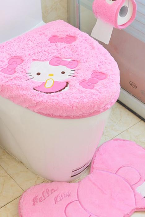 【新款卡通马桶垫套装韩国绒hellokitty马桶四件套坐