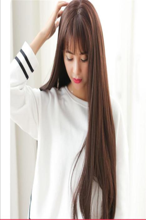 【韩国假发女生空气刘海长发长直发甜美可爱中长发