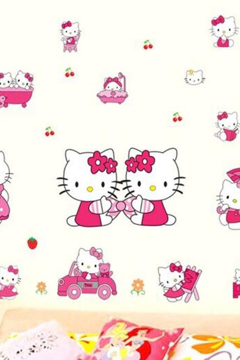 手工纸贴画hello猫