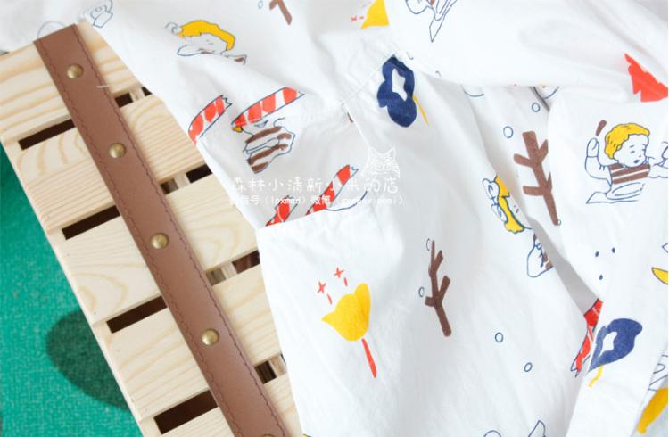 森系童趣手绘漫画微笑小女孩娃娃领宽松棉质连衣裙子