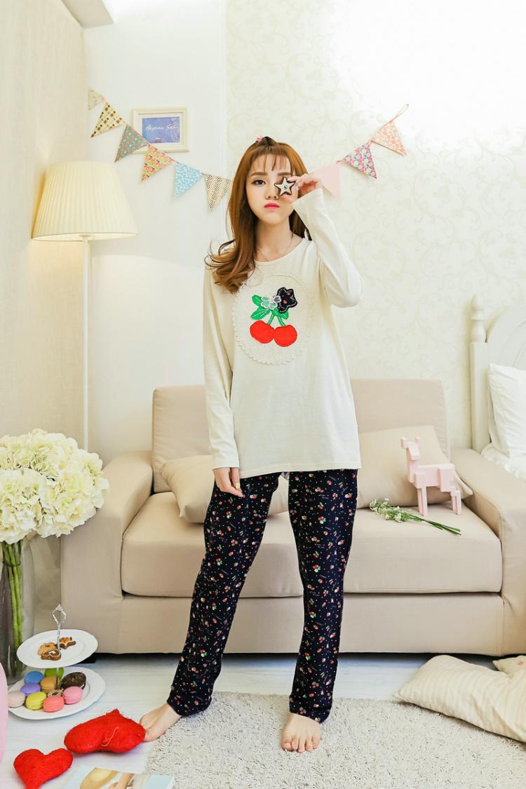 【韩版新款春季睡衣可爱小清新可爱甜美家居服纯棉