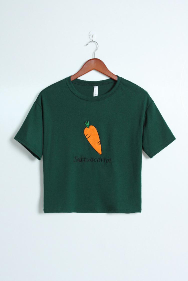 新款刺绣水果图案t恤