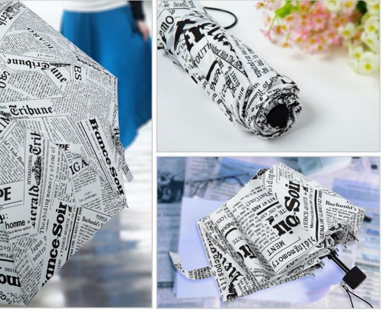 【韩国创意英伦报纸个性折叠雨伞】-null-百货