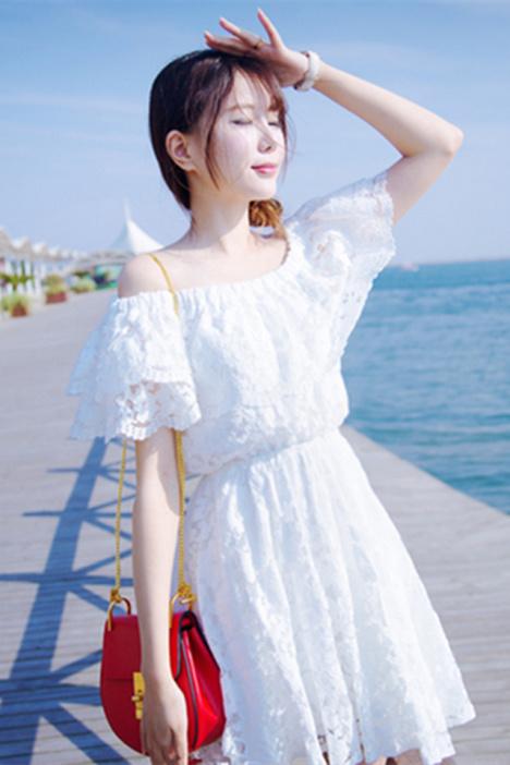【蕾丝钩花荷叶花边一字领连衣裙】-衣服-裙子