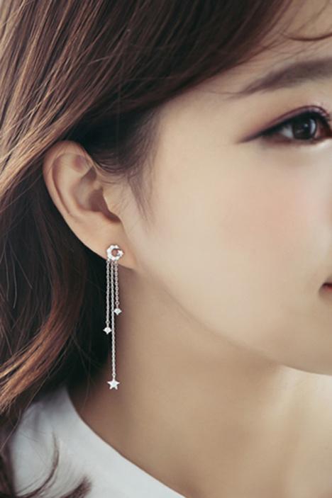 星星月亮耳环,耳环,韩国,新款,小清新
