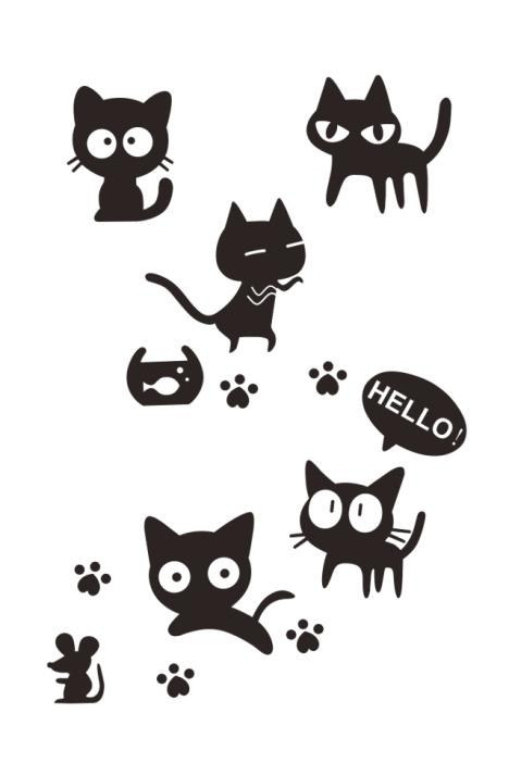 【可爱俏皮小黑猫墙贴】-家居-贴饰