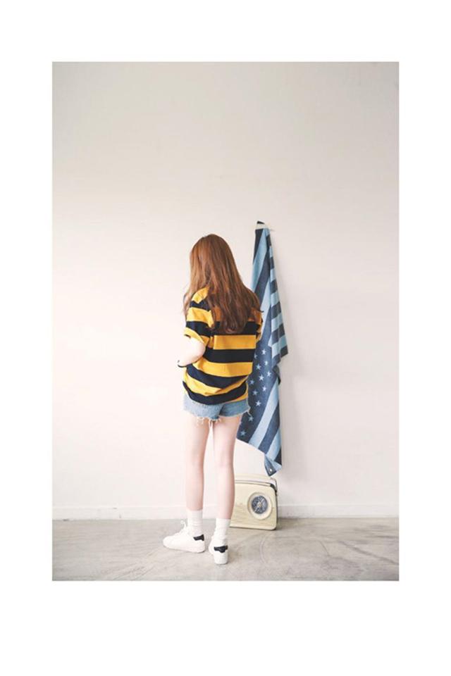 【百搭宽松黄黑条纹t】-衣服-服饰鞋包