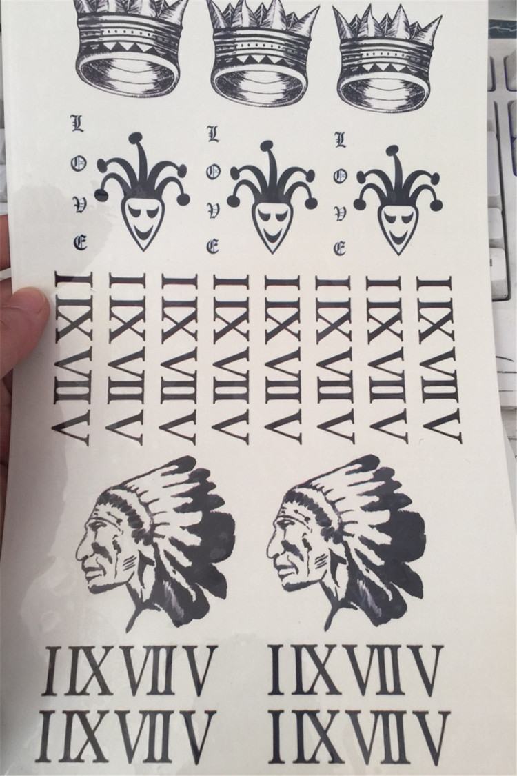 bieber贾斯丁比伯同款纹身皇冠小丑印第安人