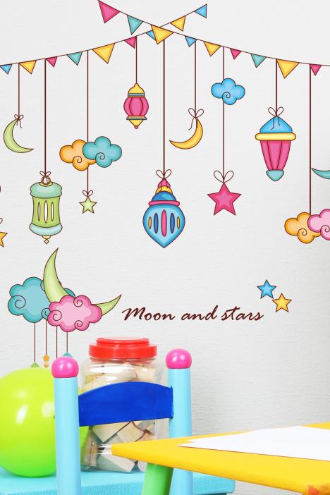 可爱卡通星星挂饰墙贴画