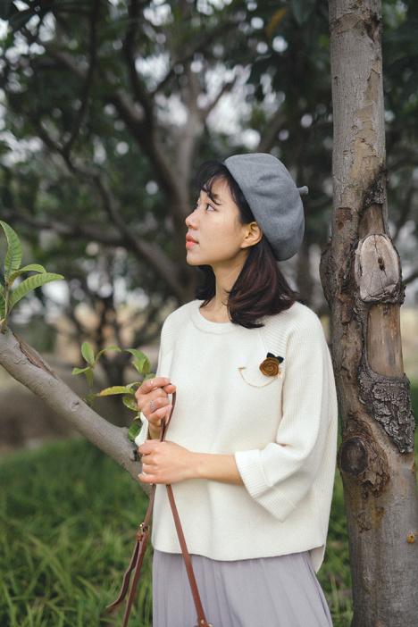 春季新品女装复古宽松横版纯色喇叭袖气质套头针织衫毛衣