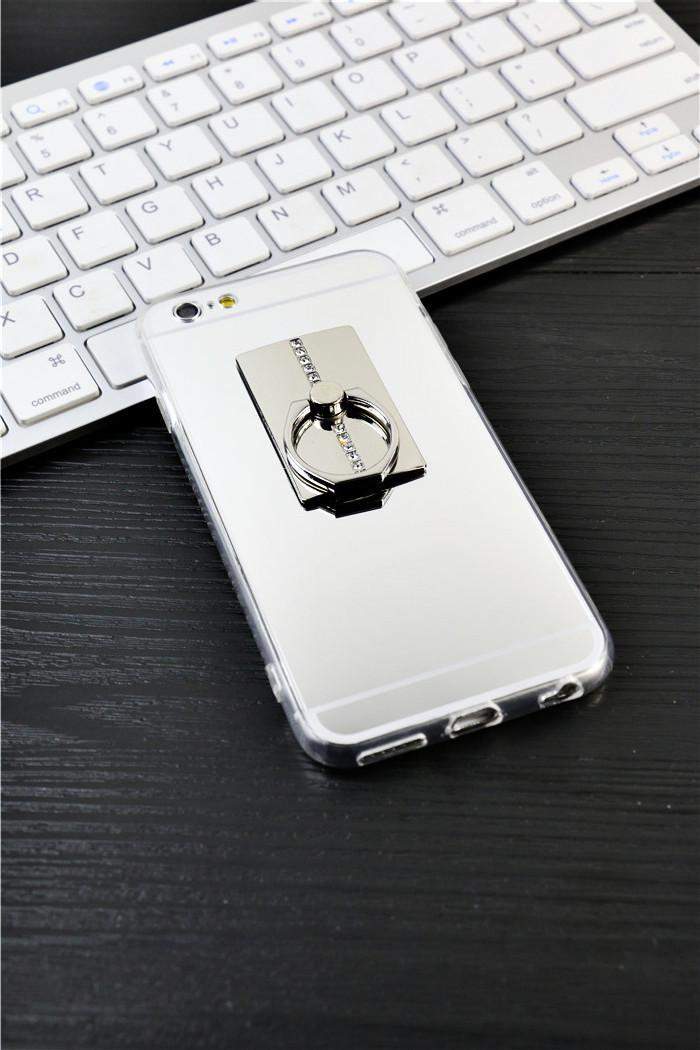 镜面苹果iphone6plus软硅胶指环扣情侣手机壳