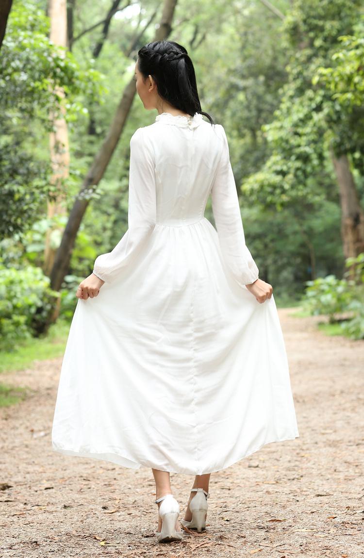【欧式复古雪纺飘逸连衣长裙】-衣服-裙子
