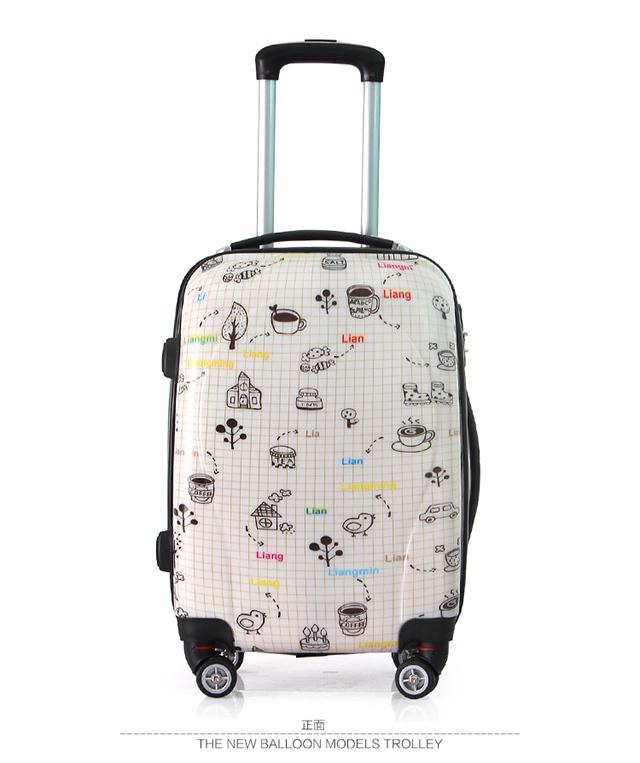 【亮鸣个性印花简笔画万向轮拉杆箱学生时尚行李箱-行李箱简笔画