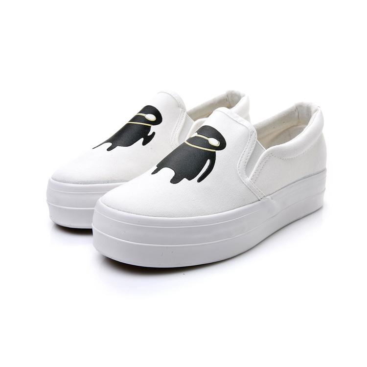 厚底一脚蹬可爱卡通帆布鞋