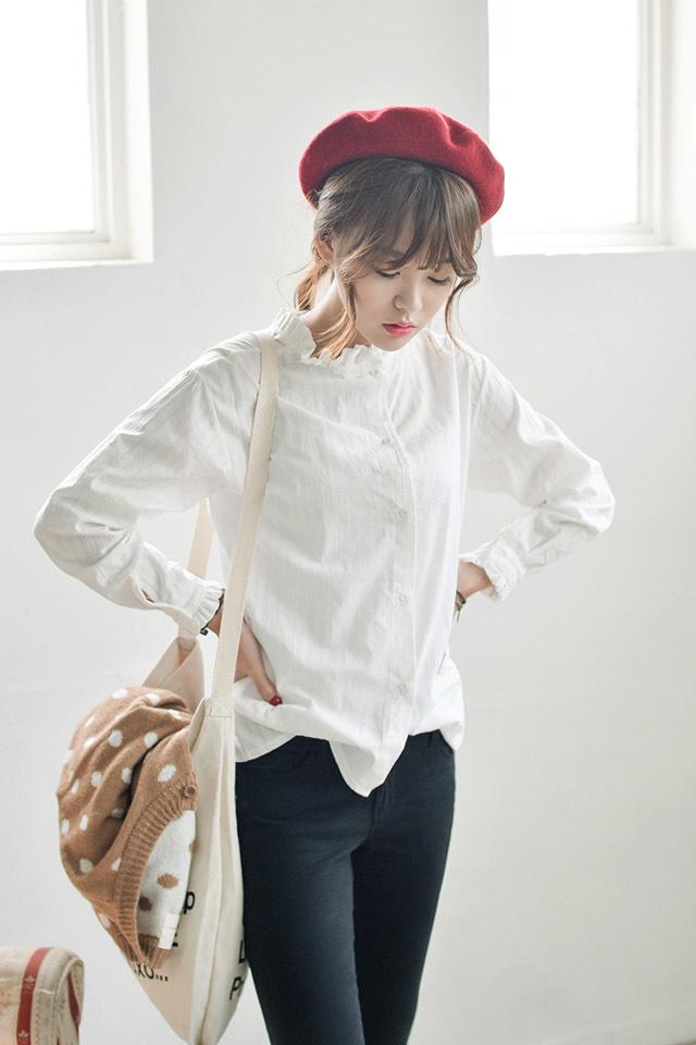 【木耳花边立领衬衫】-衣服-服饰鞋包