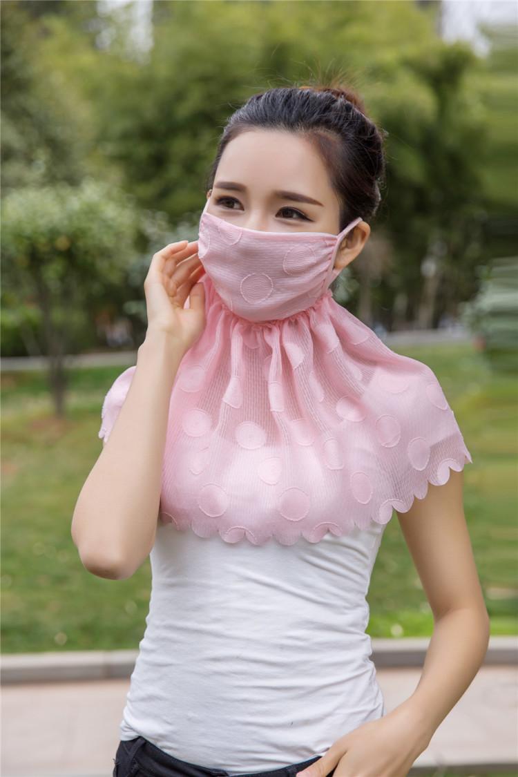 【买二送1】雪纺提花防晒口罩女遮阳护颈面罩