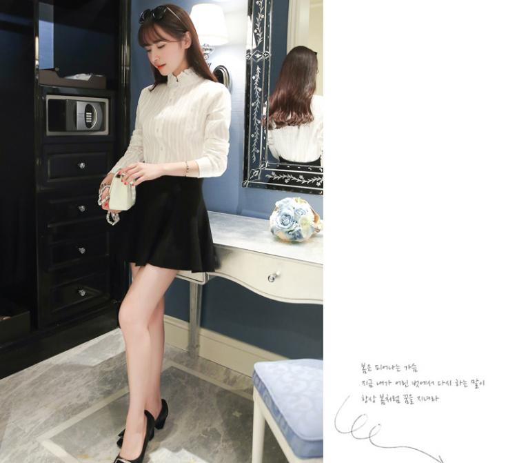 【小清新花边立领竖条衬衫】-衣服-服饰鞋包