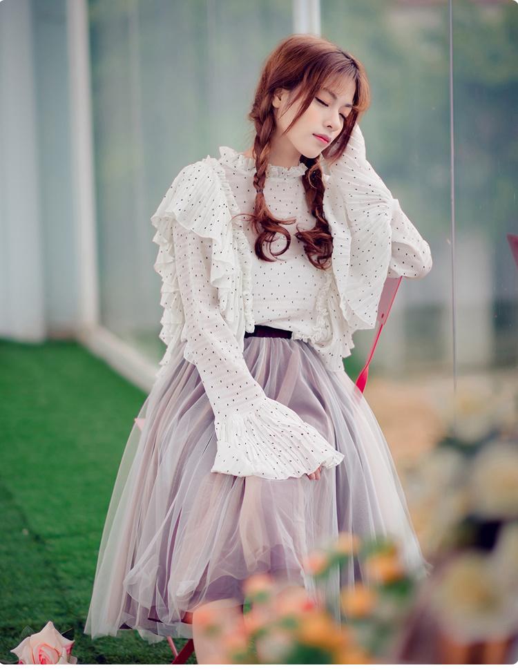 甜美小清新黑白波点喇叭袖雪纺衫长袖上衣立领木耳边女装小衫