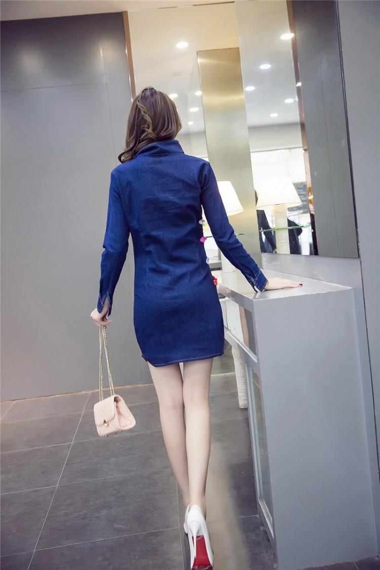 【蝴蝶结纽扣旗袍牛仔连衣裙】-衣服-裙子