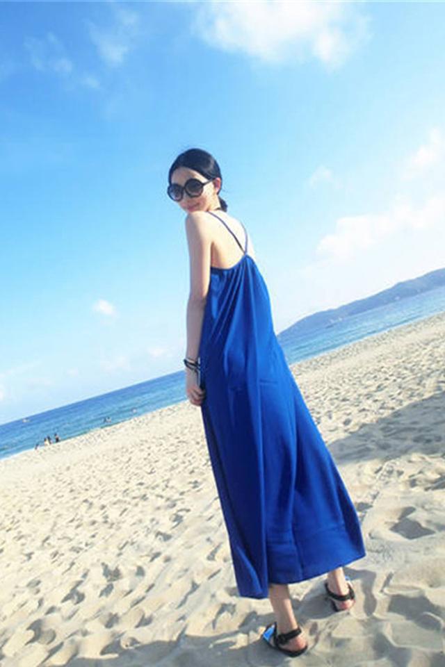 2016夏新款无袖吊带波西米亚大码度假长裙女夏海边沙滩连衣裙