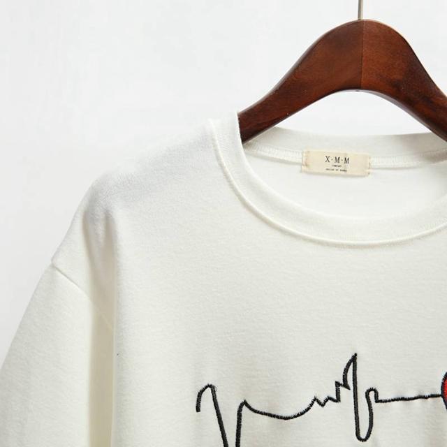 小清新爱心刺绣短袖t恤
