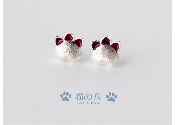 【可爱猫爪925纯银耳钉】-家居-饰品/流行首饰/时尚