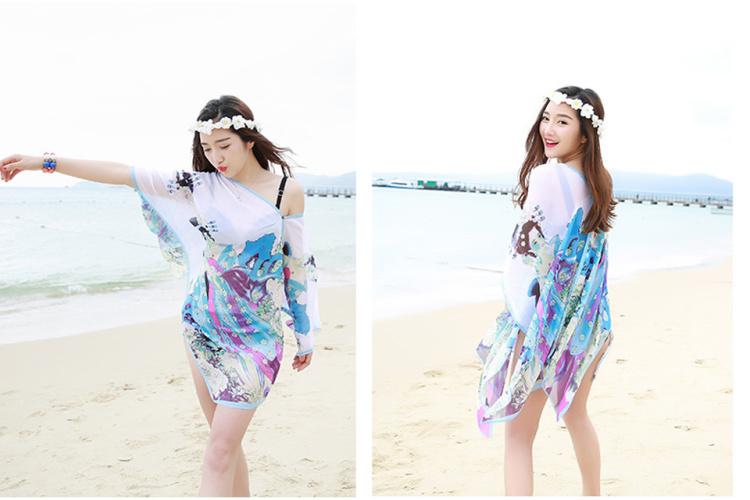 春夏季海边防晒丝巾披纱围巾披肩夏天长款沙滩巾女纱巾百变披肩