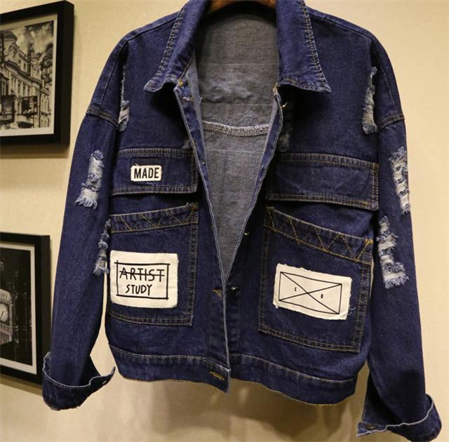 【宽松破洞牛仔短外套开衫学生潮】-衣服-牛仔外套