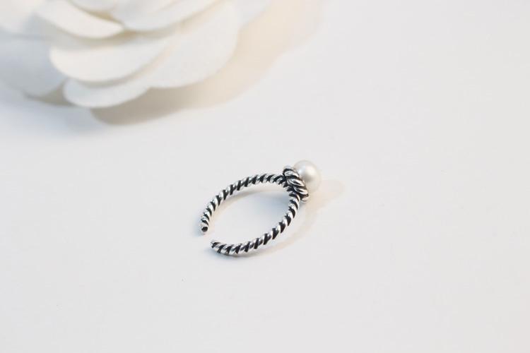 s925纯银复古泰银编织麻花珍珠开口戒指
