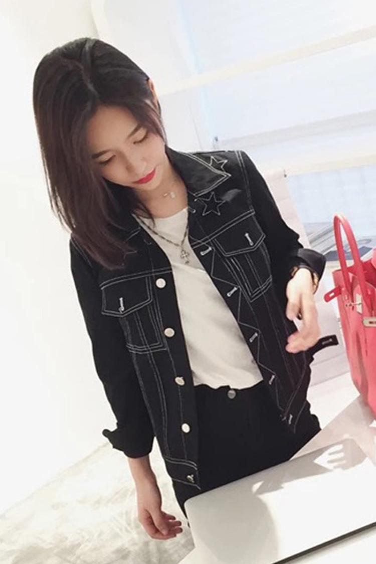 网红雪梨同款bf风星星刺绣黑色宽松牛仔外套