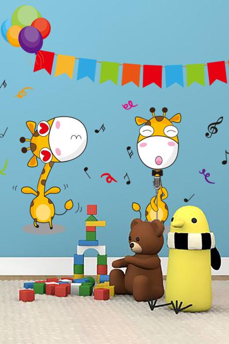 卡通贴画,儿童房装饰,幼儿园装饰贴,床头贴画,长颈鹿贴画,音乐贴画