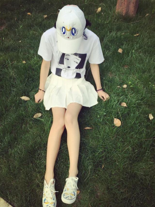 韩国ulzzang原宿古着日系元气少女头像印花圆领短