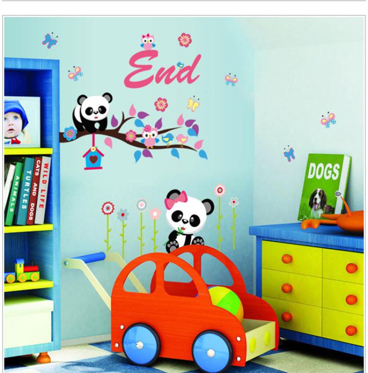 熊猫可爱卡通墙贴画 客厅儿童房幼儿园背景装饰贴纸