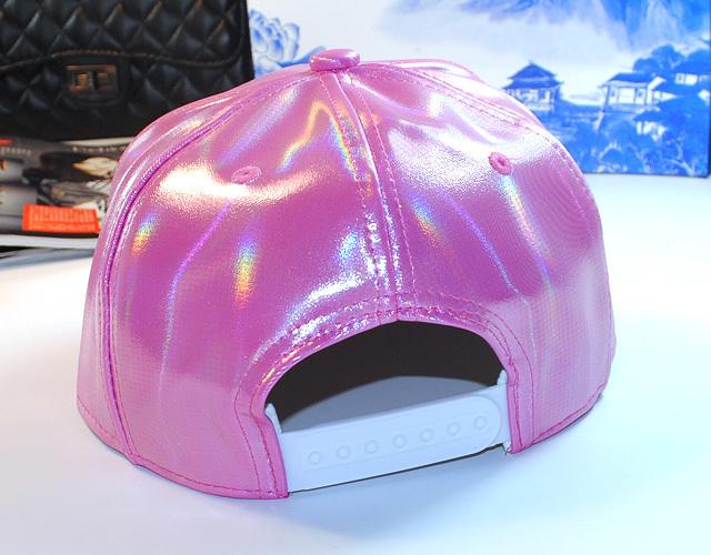 赵丽颖同款皮质棒球帽 时尚个性镭射三角形帽子 韩版新款