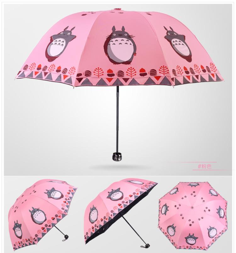可爱猫咪防紫外线黑胶三折晴雨伞
