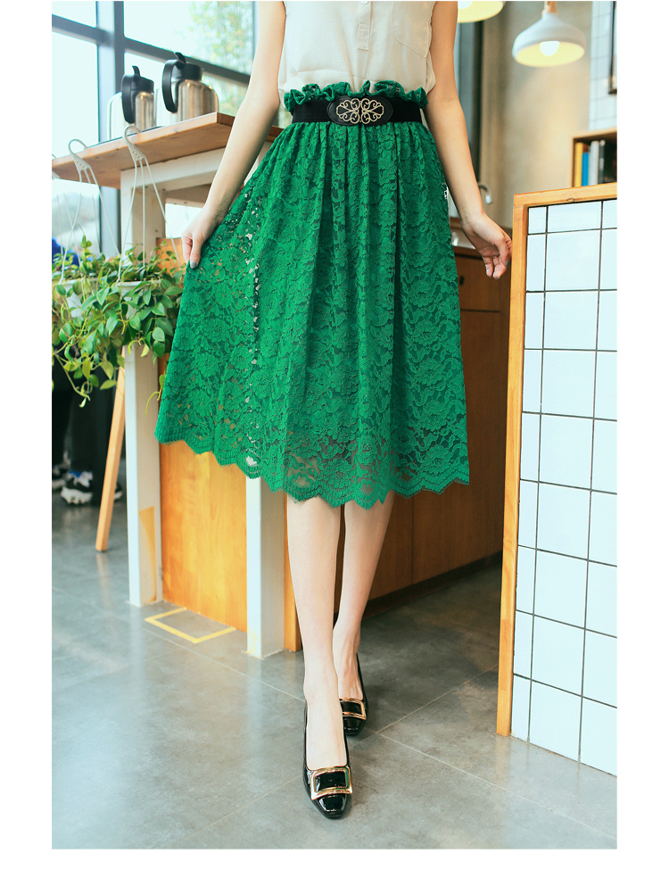新款韩版甜美气质百搭蕾丝裙镂空花边裙子松紧腰长裙半身裙