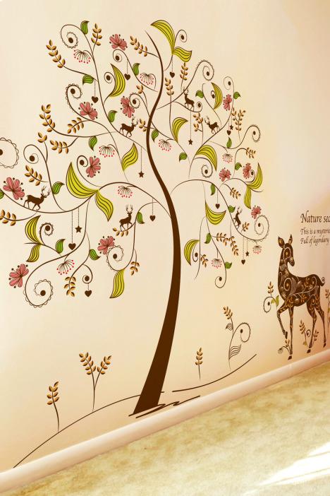 树贴画,大树贴画,麋鹿贴纸,长颈鹿贴画,彩色树贴画,风景贴画