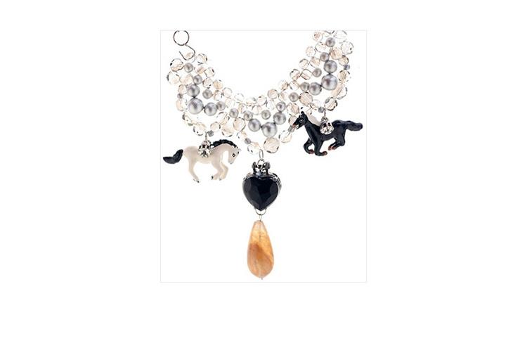 壹克网 香港设计师 mipenna 马儿晶石吊坠丝绸绑带项链