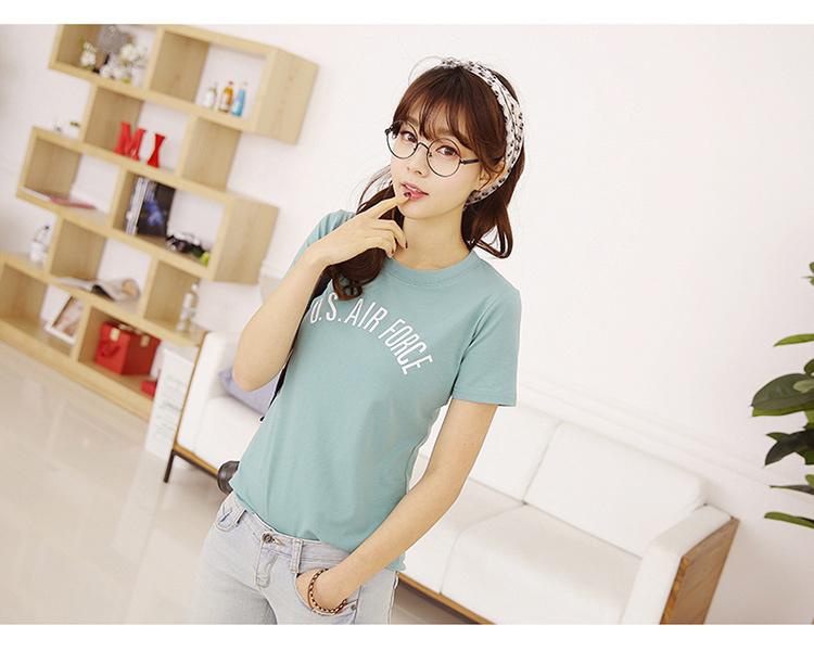 【韩国简约字母短袖t恤女】-衣服-t恤