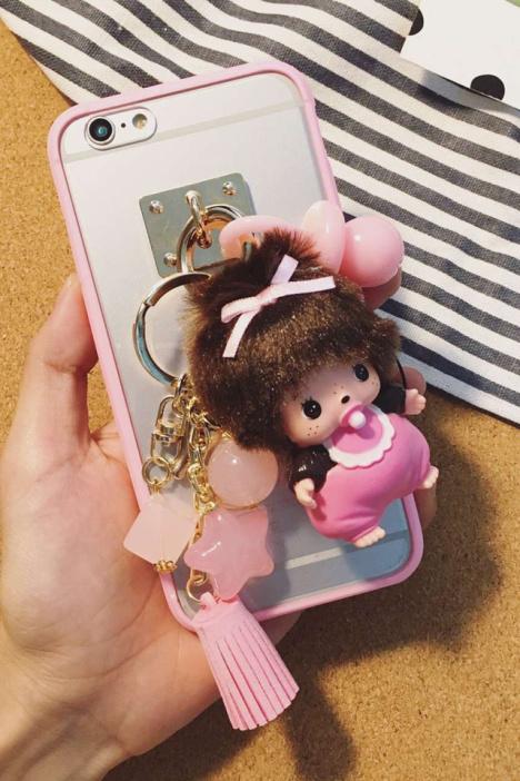 可爱毛绒公仔挂件蒙奇奇iphone6s手机壳苹果6s硅胶
