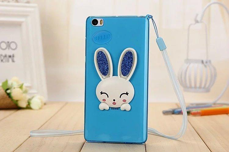 小米note手机壳5.7寸小白兔兔耳朵挂绳手机外壳