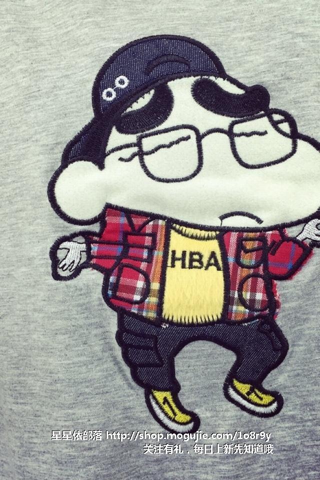 韩版学院风新款刺绣卡通蜡笔小新图案百搭宽松学生t恤