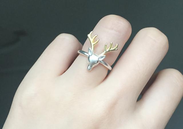 s925纯银开口可爱小鹿戒指 女