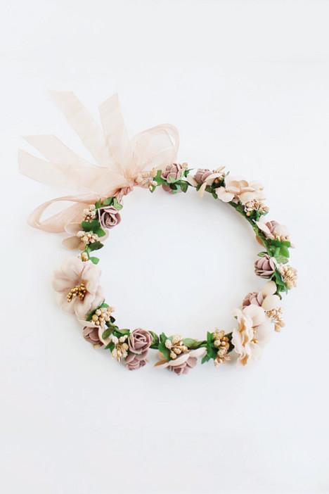 森系新娘发饰渡假花环头饰
