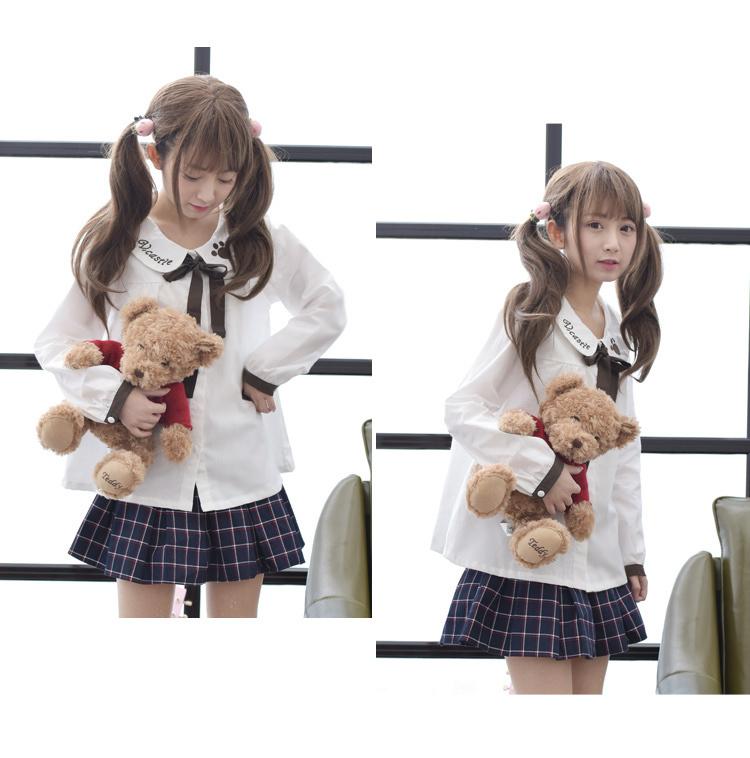 森女系可爱熊爪印娃娃领蝴蝶结打底衬衫女